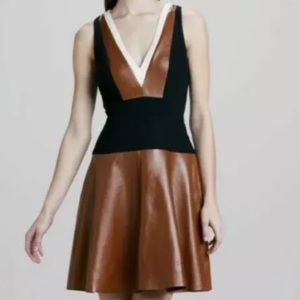 DKNY Brown Black Color block Lamb Leather Dress